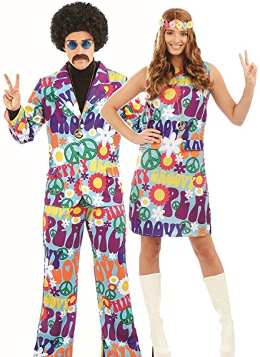 Couples Ladies and Mens 60's 70's Groovy Pop Art Hippy Carnival Fancy Dress Costumes Outfits (UK 16-18 - Mens XL)]()