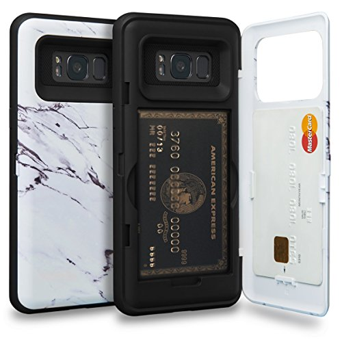 TORU CX PRO Galaxy S8 Wallet Case Pattern with Hidden ID Slot Credit Card Holder Hard Cover & Mirror for Samsung Galaxy S8 - Marble Stone