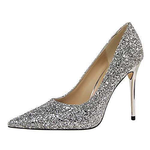 N FLYRCX Talon Aiguille a Talon Aiguille Pointu Chaussures Simples Chaussures de Mariage de Mode de Bouche Bouche Peu Profonde 36 EU