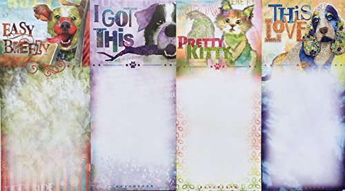 Good Dog by Connie Haley Set of 4 Assorted Whimsical List Notepads, 3 Dogs 1 Kitty Cat Kitty Notepad