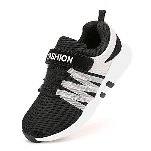 Yeeper Hallenschuhe Kinder Turnschuhe Jungen Sport Schuhe Mädchen Sneaker Outdoor Laufschuhe für Unisex-Kinder Schwarz