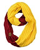 C.C Unisex College High School Sport Team Color Two Tone Winter Knit Scarf - Cardinal/Gold