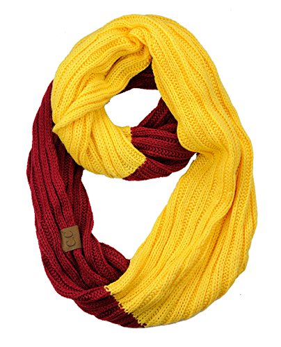 C.C Unisex College High School Sport Team Color Two Tone Winter Knit Scarf - Cardinal/Gold ()