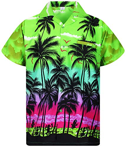 (V.H.O. Funky Hawaiian Shirt, Shortsleeve, Beach, Green,)
