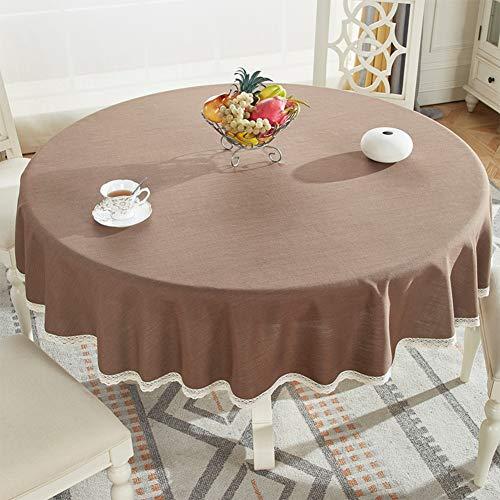 B 200cm JIANFEI Nappe Tissu De Table Table Ronde Lin En Coton Gland, 6 Couleurs, 11 Tailles Personnalisable (Couleur   B, taille   200cm)