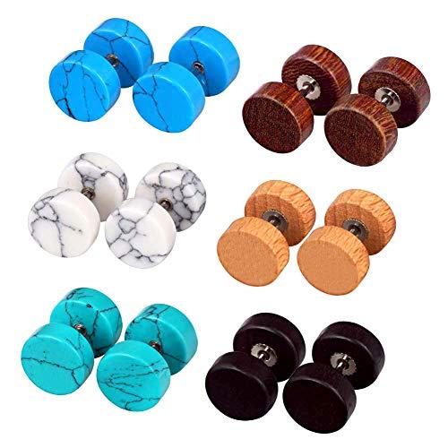 Longbeauty 6 Pairs Fake Ear GaugeEar PlugEar Stud Earring Organic Wood Stone Set 10MM