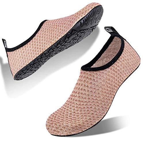 Womens and Mens Water Shoes Barefoot Quick-Dry Aqua Socks for Beach Swim Surf Yoga Exercise (Glitter-5/Orange, L)