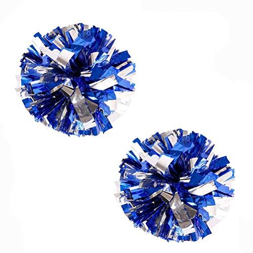 Bstgifts 2 Pack Cheerleading Pompoms, Metallic Foil & Plastic Ring Pom Poms for Cheer, Dance Team ()