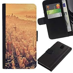 """Samsung Galaxy Note 3 III N9000 N9002 N9005 , la tarjeta de Crédito Slots PU Funda de cuero Monedero caso cubierta de piel ("""" Skyline Summer Heat Hot Nyc New York"""")"""