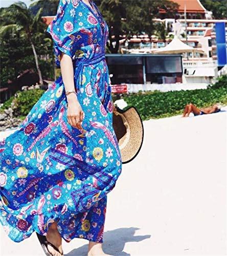 con con alla scollo stampa donna V Blu da Abito pavone Gperw Abito Abito a moda 5qFZw8
