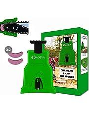 Motorsågsslipare bärbar med 2 skärpstenar i en uppsättning perfekt för att sätta på kedjor på arbetsplatsen kedjeslipare motorsågar grön