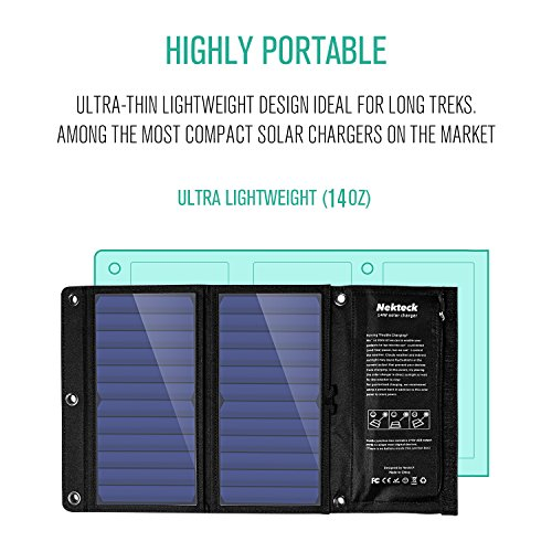 Nekteck 14W Solar Charger with 2-Port USB Charger Build with High efficiency Solar Panel Cell for iPhone 6s / 6 / Plus, SE, iPad, Galaxy S6/S7/ Edge/ Plus, Nexus 5X/6P, any USB devices, and more by Nekteck (Image #2)