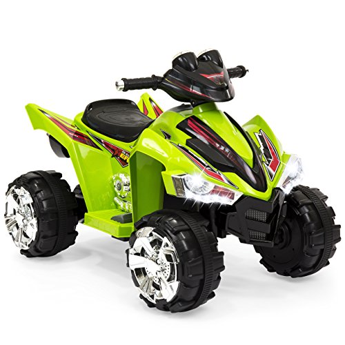 Best Choice Products Kids 12V Electric 4-Wheeler Ride-On with LED Lights, Forward and Reverse, Green