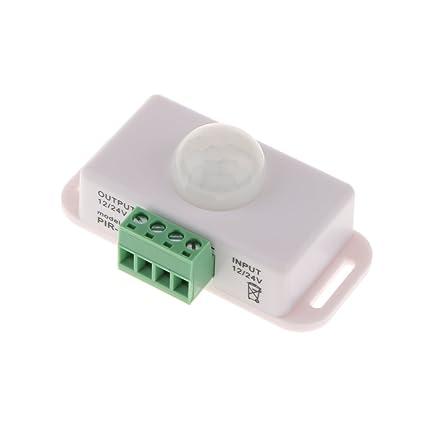 Gazechimp Interruptor de Sensor de Movimiento de PIR DC12-24V Infrarrojo Automático 1-10