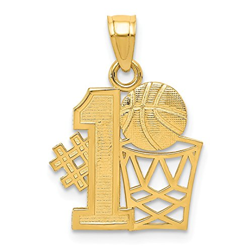 14kt Yellow Gold #1 Basketball Hoop Pendant