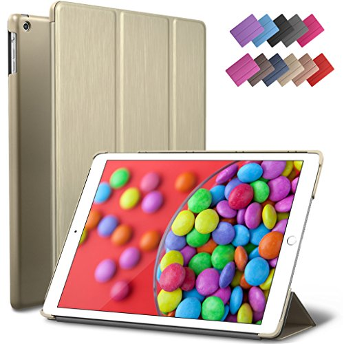 iPad Air Case, ROARTZ Metallic Gold Slim Fit Smart Rubber Coated Folio Case Hard Shell Cover Light-Weight Auto Wake/Sleep For Apple iPad Air 1st generation Model A1474/A1475/A1476 Retina Display