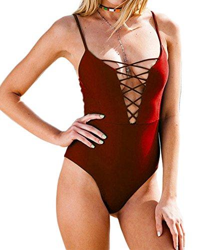 Mujeres Traje De Baño Traje De Baño Bañadores Empujan Hacia Arriba Del Bikini Vino rojo