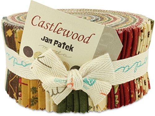 Moda Castlewood Jelly Roll, Set of 40 2.5x44-inch (6.4x112cm) Precut Cotton Fabric Strips