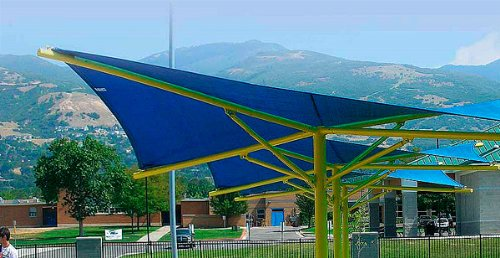 NEW 11.5'x11.5'x11.5' TRIANGLE OUTDOOR SUN SAIL SHADE CANOPY COVER Sand Green Blue Red (Blue)