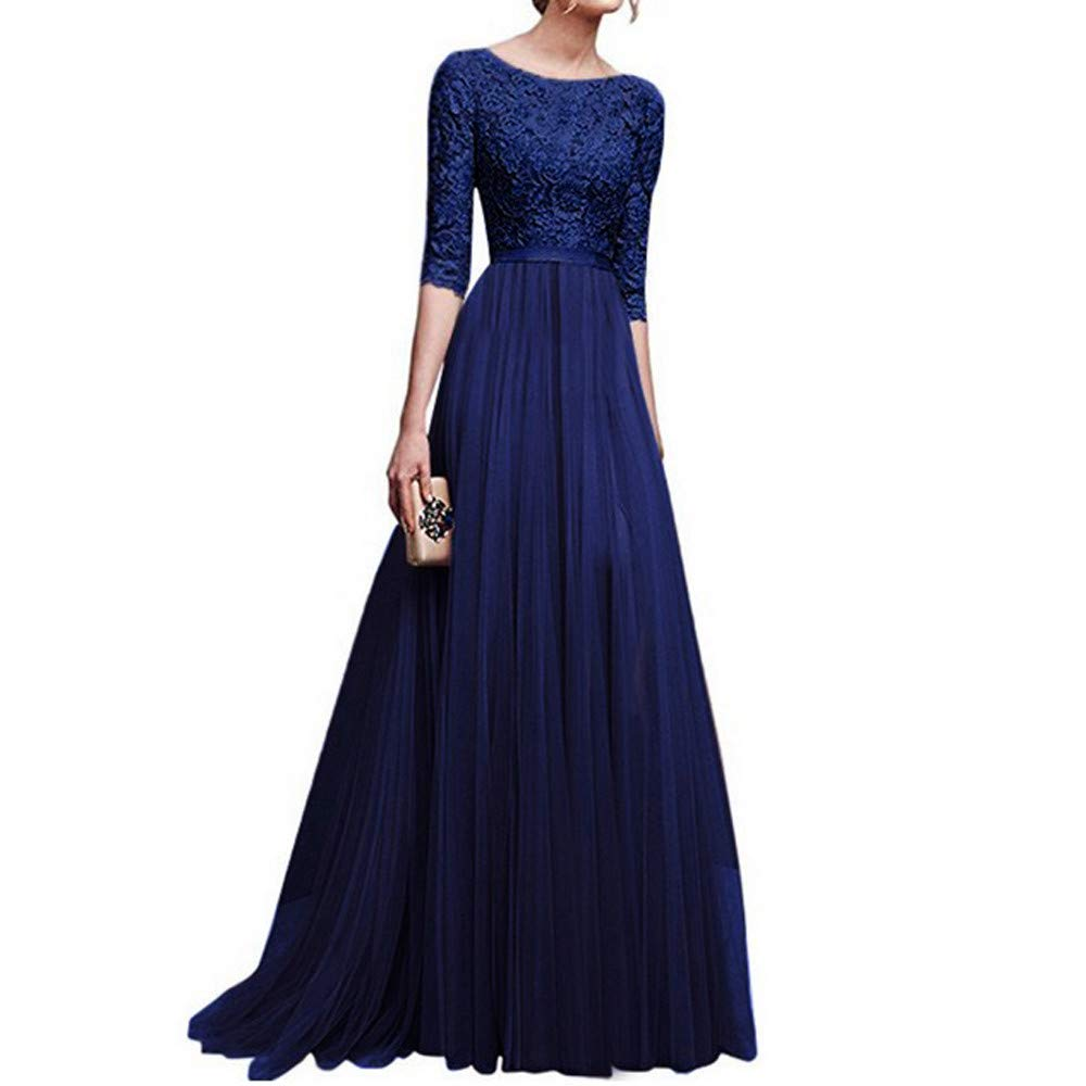 Liraly Dresses For Women Party New Fashion Women Chiffon Bridesmaid Long Maxi Evening Prom Gown Lace Long Dress(Blue ,US-12 /CN-L2)