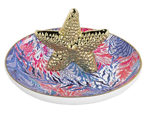 Lilly Pulitzer Women's Ceramic Ring Holder Dish (Kaleidoscope Coral)