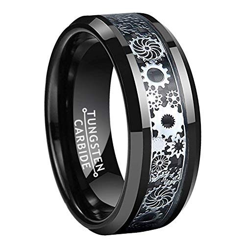 Wow Jewelers 8mm Black Tungsten Rings for Men Women Wedding Band Black Carbon Fiber Silver Gearwheel Inlay Comfort Fit (Mens Gear Ring)