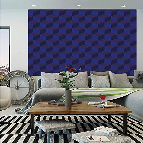(Indigo Wall Mural,3D Print Like Geometrical Futuristic Inspired Shadow Boxes Cubes Image Print,Self-Adhesive Large Wallpaper for Home Decor 83x120 inches,Dark Blue and Blue)