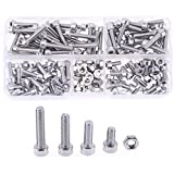 Hilitchi 210pcs M4 Stainless Steel Hex Socket Head Cap Screws Nuts Assortment Kit with Box (M4)