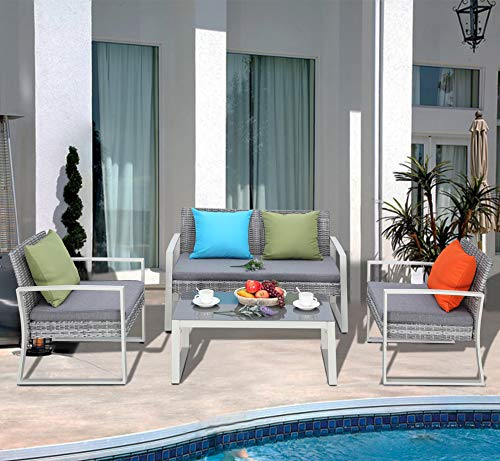 Do4U 4-Piece Set Rattan Patio Furniture Set Outdoor Sofa Wicker Conversation Set Weather Resistant Cushions Tempered Glass Tabletop| Porch, Backyard, Pool Garden | Bistro Sets ()