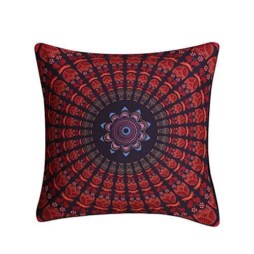 (Sleepwish Indian Mandala Throw Pillow Cover Bohemian European Square Pillow Sham Indoor/Outdoor Cushion Covers 28x28 Inch (Hippie Concealed))