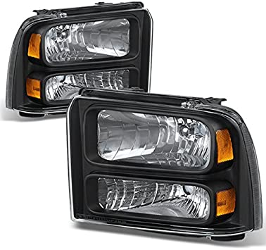 Partsam Replacement for 05 06 07 Ford F250 F350 F450 F550 Super Duty// 05 Ford Excursion Headlight Assembly Headlamps Clear Lens Black Housing Headlights Set Driver and Passenger Side