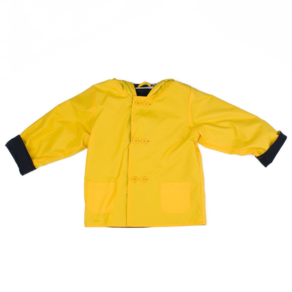 Boutique Collection Yellow Hooded Jacket-Raincoat w/Double Buttons & Navy Cotton Lining by Boutique Collection