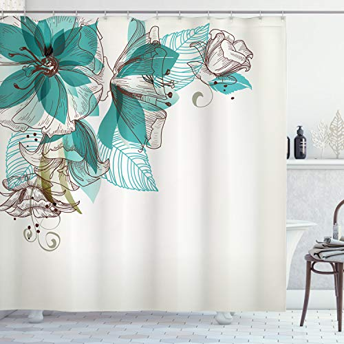 Ambesonne Turquoise Shower Curtain, Flowers Buds Leaf at The top Left Corner Season Celebrating Theme, Cloth Fabric Bathroom Decor Set with Hooks, 70 Long, Teal Brown