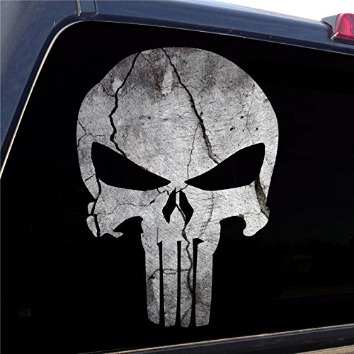Punisher Skull Cracked Rock Stone Military Decal Sticker Graphic - 4 Sizes Available (18
