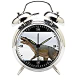 Children's Room Silver Dinosaur Silent Alarm Clock Twin Bell Mute Alarm Clock Quartz Analog Retro Bedside and Desk Clock with Nightlight-105.205_Reptile, Dinosaur, Animal, Nature, Animal World