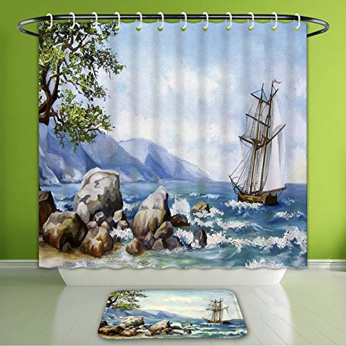 "Waterproof Shower Curtain and Bath Rug Set Oil Painting Sea Views Wallpaper with Ship and Sea Bath Curtain and Doormat Suit for Bathroom 60""x72"" & 24""x16"""