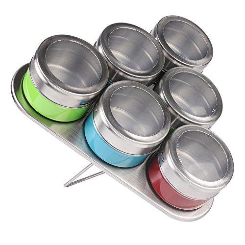 6pcs cocina estante recipiente para especias con caballete (carga máxima de acero inoxidable magnético de acero...
