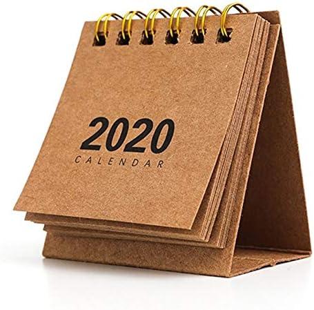 Tischkalender Kalendarien Neues Jahr 2020 Mini-Tischkalender Kreative einfacher Schreibtisch Coil Notepad Kraft Paper Kalender Tagesablauf Jährlich Agenda Organizer (Color : KK)