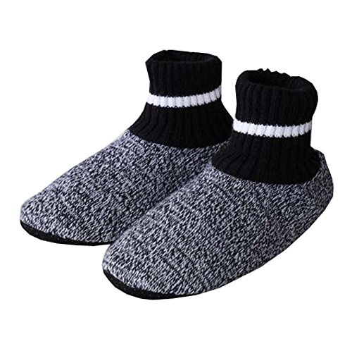 (Men Winter Non-Skid Knit Slipper Socks Indoor Floor Stocking Shoes Home Socks,B)