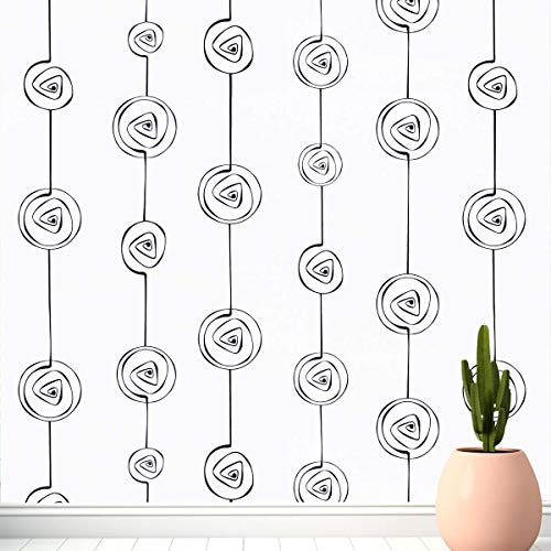 """GloryTik White Wallpaper Black Stripe Peel and Stick Wallpaper Self Adhesive Lines Contact Paper 17.7""""x118"""" Removable Modern Wallpaper Circle Pattern Wallpaper for Bedroom Wall Home Decoration Roll"""
