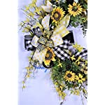 Sunflower-Wreath-Summer-Door-Decor-Bumble-Bee-Decorations-Buffalo-Plaid-Farmhouse-Wall-Decor-Forsythia-Floral-Grapevine-Base-Spring