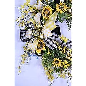 Sunflower Wreath, Summer Door Decor, Bumble Bee Decorations, Buffalo Plaid Farmhouse Wall Decor, Forsythia Floral, Grapevine Base, Spring 3