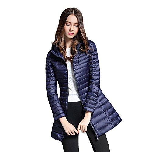 Blue Women's Pocket Down Long Cadet Zipper Hooded Coat CharMma Sleeve Lightweight Bxfvaxwq