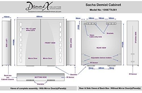 Sacha Led Bathroom Cabinet With Demister Pad  Sensor