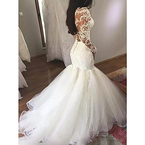 Liliesdresses Women S Luxury Halter Mermaid Bridal Dress Wedding Gown With Sleeves Beaded Lace Prom Gown White 8