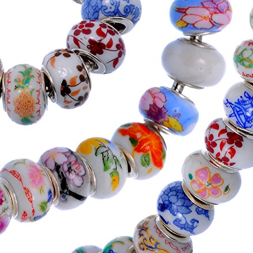 RUBYCA 100Pcs Mix Chinese Ceramic Charm Beads Floral fit European Charm Bracelet for Jewelry Making