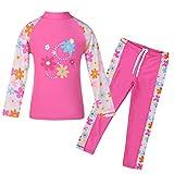 TFJH E Girls Swimsuit UPF 50+ UV Two Piece Long Sleeve Top Pants Set HotPink Long 3-4 Years 4A