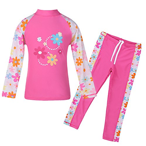 TFJH E Girls Swimsuit UPF 50+ UV Two Piece Long Sleeve Top Pants Set HotPink Long 5-6 Years - Pants Top Suit