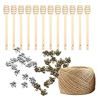 Luxtrip 12 pack Mini Wooden Honey Dipper Sticks Honey Dippers 6 inch for Honey Jar Dispense Drizzle Honey, Wedding Party Favors Wedding Party Favors 98 feet of jute rope