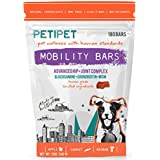 Petipet Dog Joint Supplement Chews - Glucosamine Chondroitin & MSM 180 Bars Chewable Canine Mobility Bars for Advanced Arthritis & Hip Pain Relief - Human Grade Health Food Bites